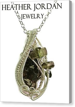 Wire-wrapped Seymchan Pallasite Meteorite Pendant In Sterling Silver With Green Tourmaline Crystals  Canvas Print by Heather Jordan