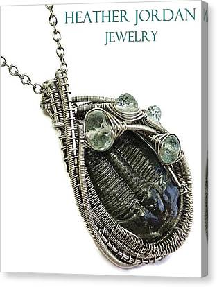 Wire-wrapped Trilobite Fossil Pendant In Antiqued Sterling Silver With Aquamarine Trilss8 Canvas Print by Heather Jordan
