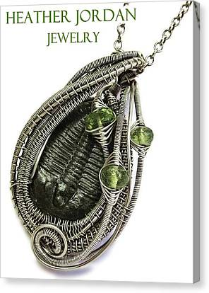 Wire-wrapped Trilobite Fossil Pendant In Antiqued Sterling Silver With Peridot Trilss9 Canvas Print by Heather Jordan