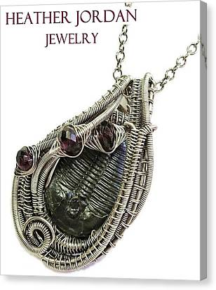 Wire-wrapped Trilobite Fossil Pendant In Antiqued Sterling Silver With Rhodolite Garnet Trilss7 Canvas Print by Heather Jordan