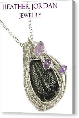 Wire-wrapped Trilobite Fossil Pendant In Sterling Silver With Amethyst Trilss10 Canvas Print by Heather Jordan
