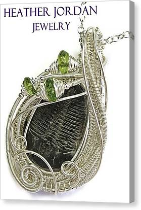 Wire-wrapped Trilobite Fossil Pendant In Sterling Silver With Peridot Trilss6 Canvas Print by Heather Jordan