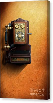 Aged Wood Canvas Print - Wired To The Wall by Peter Awax