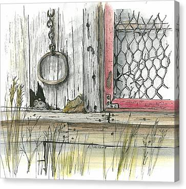 Old Shed Canvas Print - Wired Window by Albert Calzetta