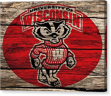 Wisconsin Badgers Barn Door Canvas Print by Dan Sproul