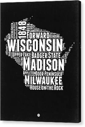 Wisconsin Black And White Word Cloud Map Canvas Print