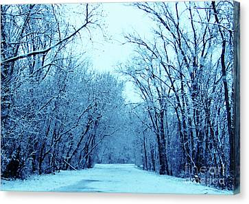 Wisconsin Frosty Road In Winter Ice Canvas Print