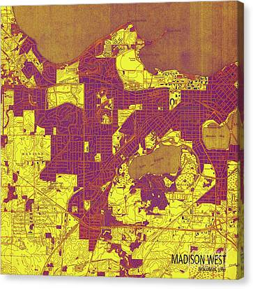 Wisconsin, Madison West Yellow, Purple And Brown Old Map, Year 1959 Canvas Print by Pablo Franchi