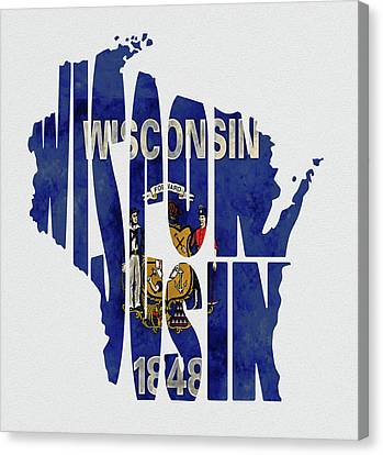 Wisconsin Typography Map Flag Canvas Print