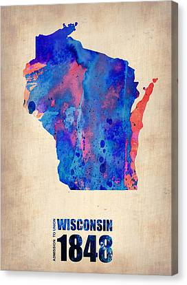 World Map Canvas Print - Wisconsin Watercolor Map by Naxart Studio