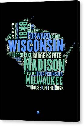 Wisconsin Word Cloud Map 1 Canvas Print by Naxart Studio