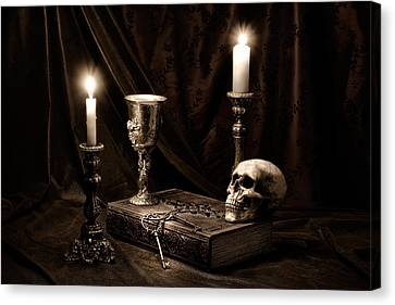 Candle Lit Canvas Print - Wisdom Of The Ages Still Life by Tom Mc Nemar