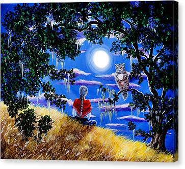 Wise Woman And Owl Full Moon Meditation Canvas Print by Laura Iverson