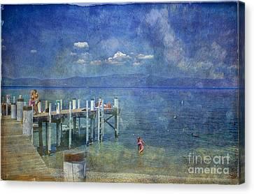 Canvas Print featuring the photograph Wish You Were Here Chambers Landing Lake Tahoe Ca by David Zanzinger
