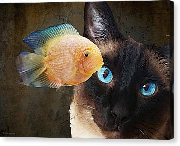 Canvas Print featuring the painting Wishful Thinking 2 - Siamese Cat Art - Sharon Cummings by Sharon Cummings