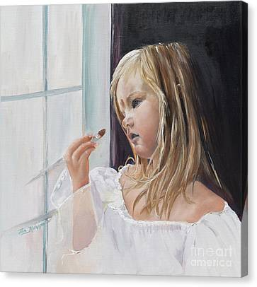Canvas Print featuring the painting Wishful Thinking - Megan - Signed by Jan Dappen