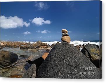 Wish Canvas Print - Wishing Rocks Aruba by Amy Cicconi