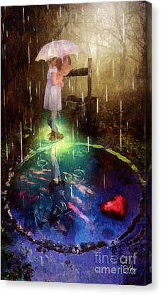 Canvas Print featuring the painting Wishing Well by Mo T