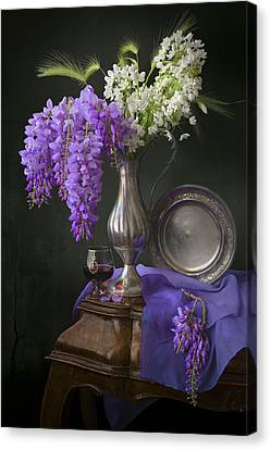 Wisteria And Allium Ursinum Canvas Print by Giovanni Allievi