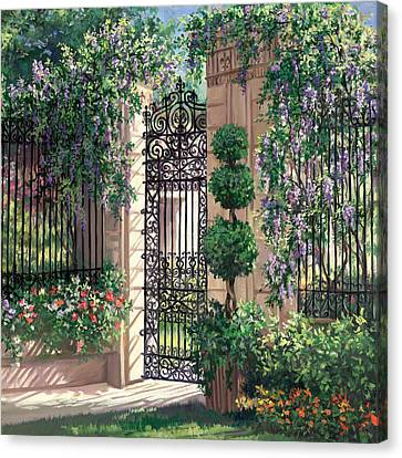 Wisteria Gate Canvas Print by Laurie Hein