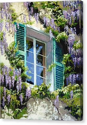 Wisteria In Provence Canvas Print by Jeanne Rosier Smith