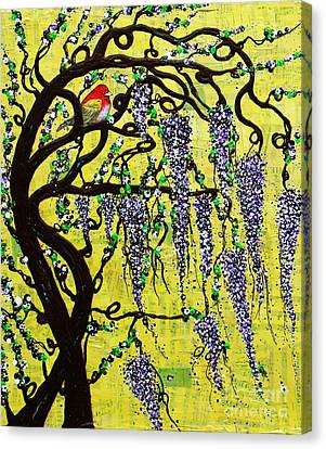 Canvas Print featuring the mixed media Wisteria Joy by Natalie Briney