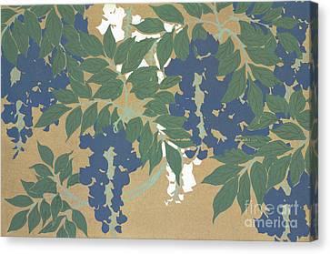 Wisteria In Bloom Canvas Print - Wisteria by Kamisaka Sekka