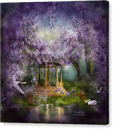 Canvas Print featuring the mixed media Wisteria Lake by Carol Cavalaris