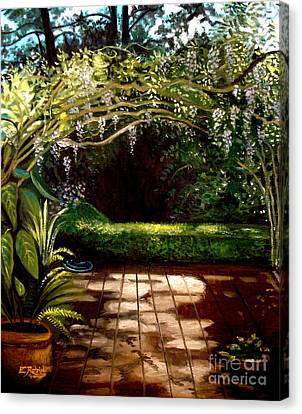Canvas Print featuring the painting Wisteria Shadows by Elizabeth Robinette Tyndall