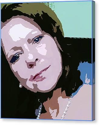 Canvas Print featuring the digital art Wistful Woman Pop Art by Ellen Barron O'Reilly