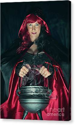 Witch And Her Cauldron Canvas Print
