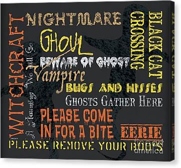 Witchcraft Typography Canvas Print by Debbie DeWitt