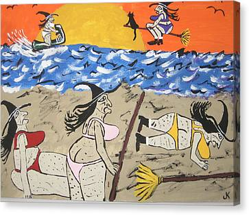 Witches Day At The Beach Canvas Print