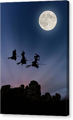 Witches Over Combstone Tor Canvas Print by Maggie McCall
