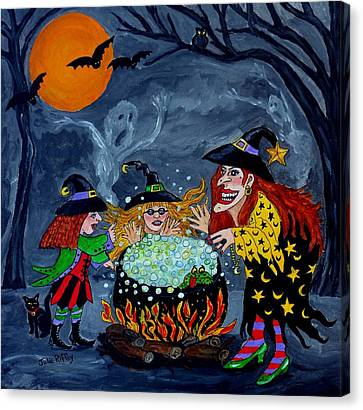 Witches Spelling Class - Halloween Canvas Print by Julie Brugh Riffey