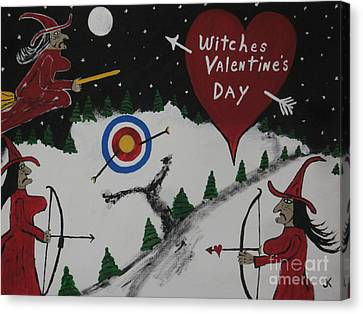 Well Endowed Canvas Print - Witches Valentine's Day by Jeffrey Koss