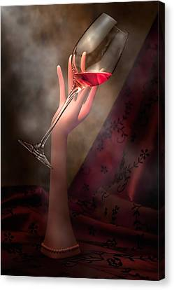 Wine Glasses Canvas Print - With Glass In Hand by Tom Mc Nemar
