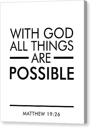 With God All Things Are Possible - Bible Verses Art Canvas Print