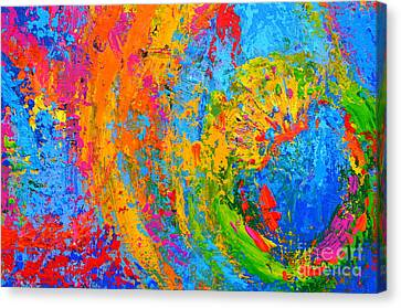 Intense Color Canvas Print - Within Circles 2 - Colorful Modern Abstract  Painting Palette Knife Work by Patricia Awapara