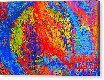 Within Circles - Colorful Modern Abstract Painting Palette Knife Work Canvas Print by Patricia Awapara