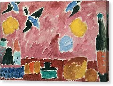 With Red Swallow-patterned Wallpaper Canvas Print by Alexej von Jawlensky