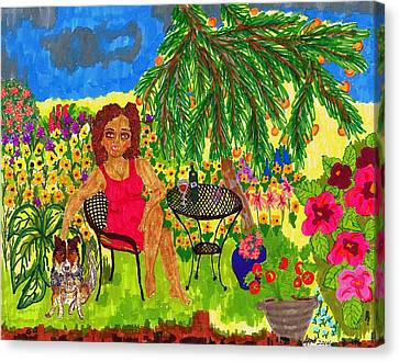 With Rudy In The Garden Canvas Print