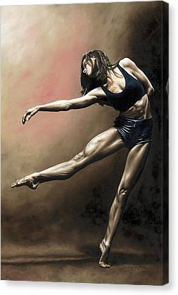 Dancer Canvas Print - With Strength And Grace by Richard Young