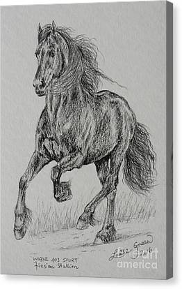 Friesian Horse Canvas Print - Wobke 403 Sport Friesian by Louise Green