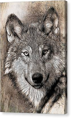 Canvas Print featuring the digital art Wolf  by Aaron Berg