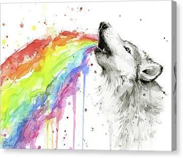 Wolf And Rainbow  Canvas Print by Olga Shvartsur