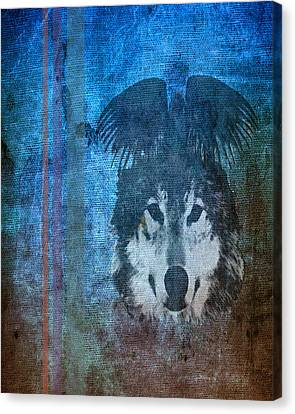 Wolf And Raven Canvas Print by Thomas M Pikolin