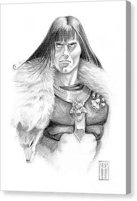 Wolf Barbarian Canvas Print by Melissa A Benson