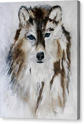Wolf - Blue Star Canvas Print by Barbie Batson