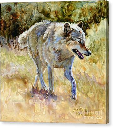 Canvas Print featuring the painting Wolf by Bonnie Rinier